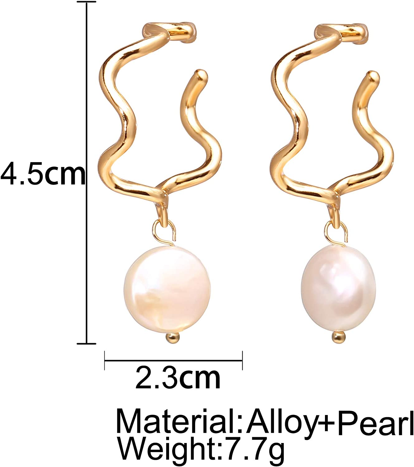 8pcs Pack Golden Metal Alloy Irregular Shape Pearl Pendant Charms Jewelry  Craft