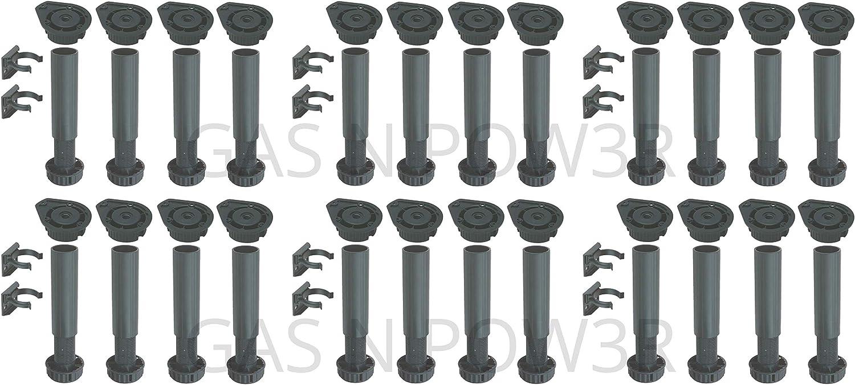 clips para cocina o ba/ño paquete de 4 negro Juego de patas de pl/ástico para armarios de 150 a 180 mm de altura ajustable