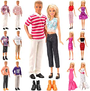 Barwa Lot 15 Items for 11.5 Inch Boy and Girl Doll EU CE-EN71 Certified Include 5 Sets Casual Wear Clothes + 5 Pcs Pants +2 Shoes+3 Dress for 11.5 Inch Doll