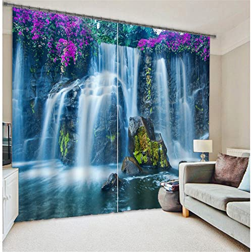 Newrara Huangguoshu Waterfalls Scenery 3D Blackout Curtains 2 Panels for Living Room Bedroom,Free Hook Included 104W63 L, Multi