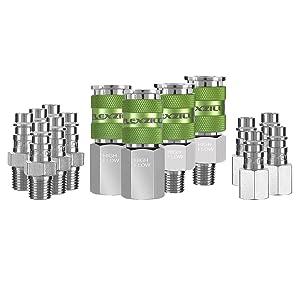 """Flexzilla Pro High Flow Coupler & Plug Kit (14 Piece), 1/4"""" NPT - A53458FZ"""