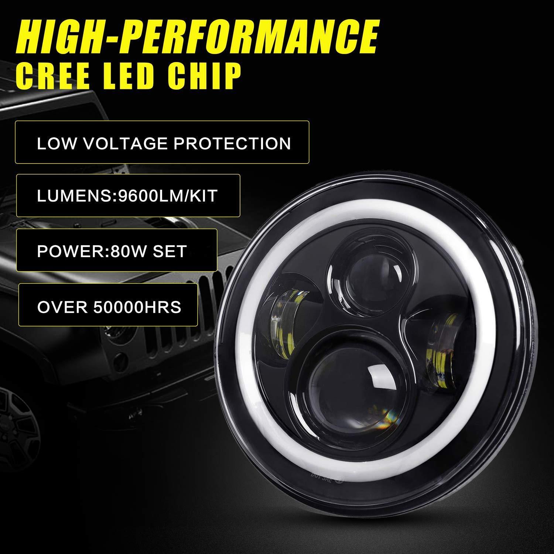 2 Jahre Garantie YEEGO 7 Zoll LED Halo Scheinwerfer 80W 9600LM Rundscheinwerfer mit Fernlicht Wei/ßer Halo Ring Angel Eyes DRL Bernstein Blinker