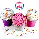 Bath Bomb GIFT SET, 3 XL Cupcakes - Fizzy Lush Bath Bombs Nourish (Sea Salts), Moisturize (Jojoba & Sweet Almond Oils), Exfoliate (Frosting). Fun Gift for Her - Spa Relaxation Bath Set. Made in USA.