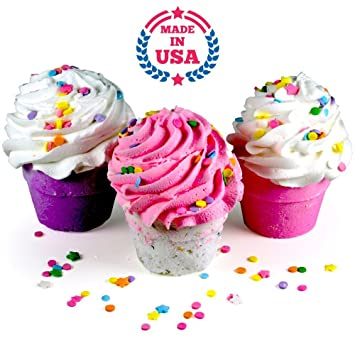 Unique Bath Bomb GIFT SET 3 XL Cupcakes Fizzy Lush Bath Bombs Nourish Sea Awesome - Modern best lush bath bombs New