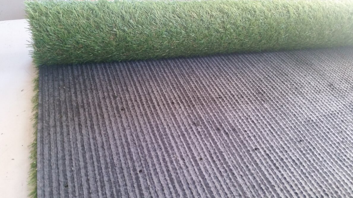 PZG 1-inch Artificial Grass Patch w/ Drainage Holes & Rubber Backing | 4-Tone Realistic Synthetic Grass Mat | Heavy & Soft Pet Turf | Lead-Free Fake Grass for Dogs or Outdoor Decor | Size: 12' x 6'