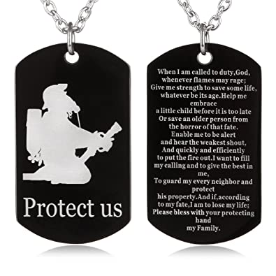 FAYERXL Firefighter's Prayer Protect us Dog Tag Necklace