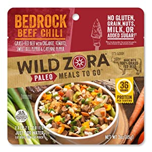 Wild Zora Paleo Meals To Go - Bedrock Beef Chili - 100% Grass Fed Beef - Freeze Dried Meal for Backpacking and Camping - Gluten Free, Dairy Free, High Protein Meal - (Single Serving)