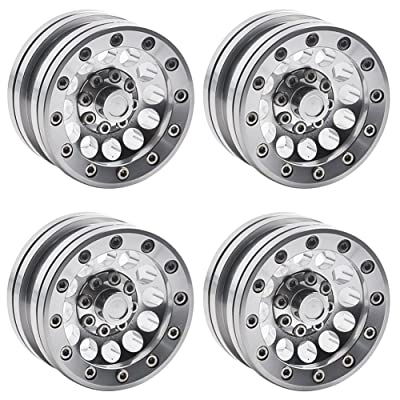 "MOHERO 1.9"" Alloy Beadlock Crawler Wheels Rims Set for RC 1/10 Model Crawler SCX10 Pack of 4 (Silver): Toys & Games"