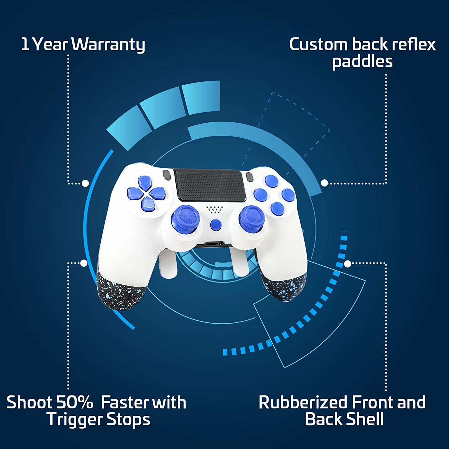 PS4 Elite Controller Soft Touch White/Blue Custom with Paddles, Trigger  Stops  Professional Level Graded Equipment  Tournament Approved and Legal!  for