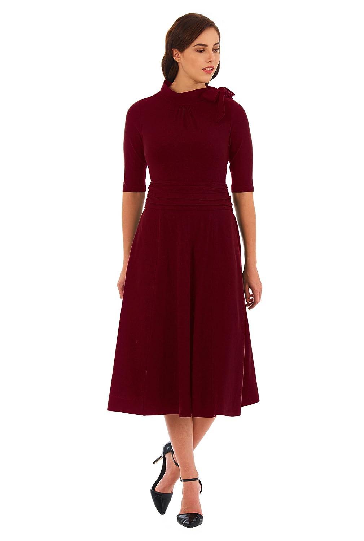 1930s Style Dresses   30s Art Deco Dress eShakti Womens Bow tie pleat waist cotton knit dress $54.95 AT vintagedancer.com