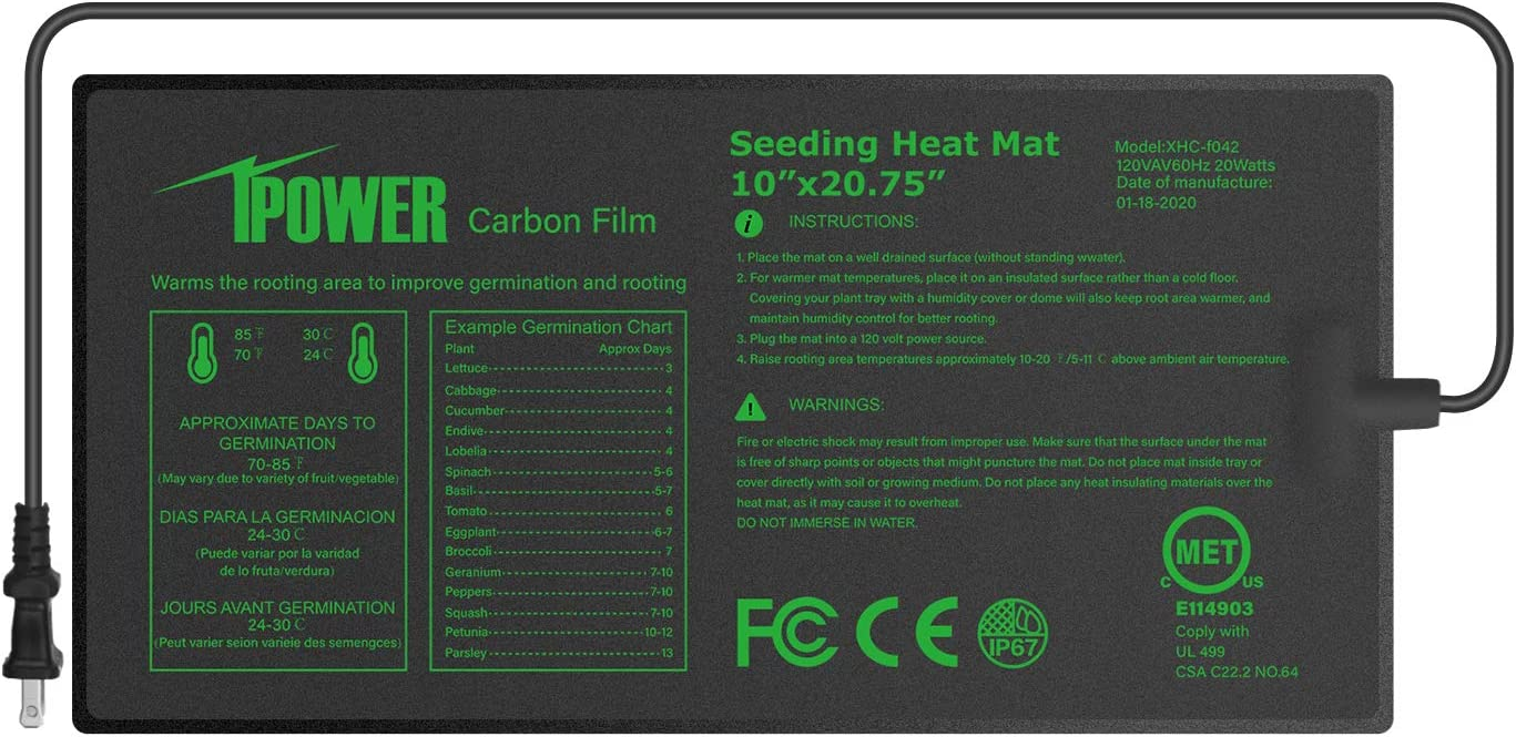 "iPower GLHTMTPROS Upgraded Carbon Film 10"" x 20.75"" Seedling Heat Mat Durable Waterproof Indoor Warm Hydroponic Plant Germination Starting Pad, Black"
