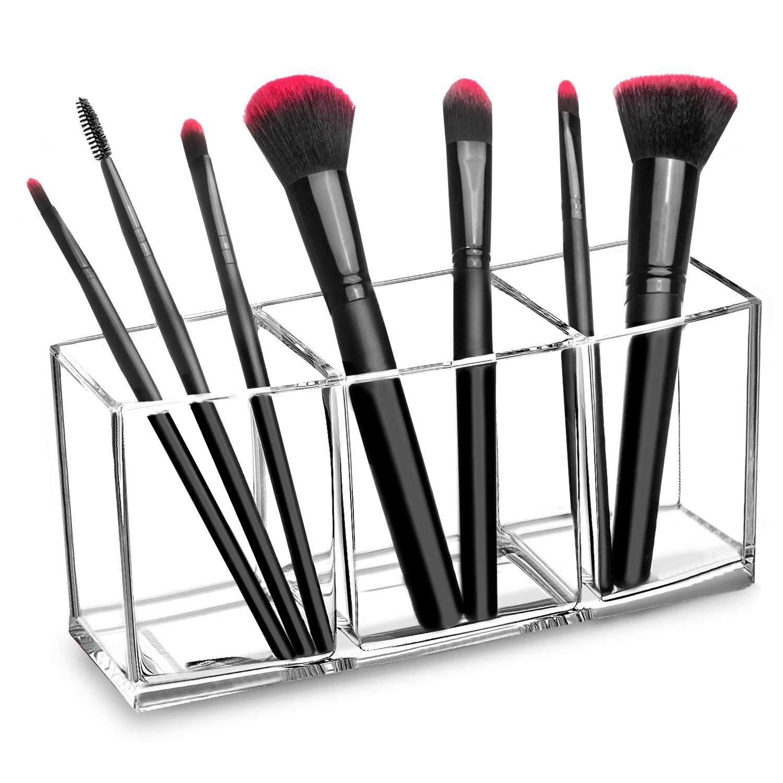 hblife Clear Makeup Brush Holder Organizer, 3 Slot Acrylic Cosmetics Brushes Storage Solution