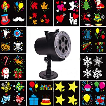 Navidad Halloween Regalo Luces De Proyector Navidad LED 12PCS ...