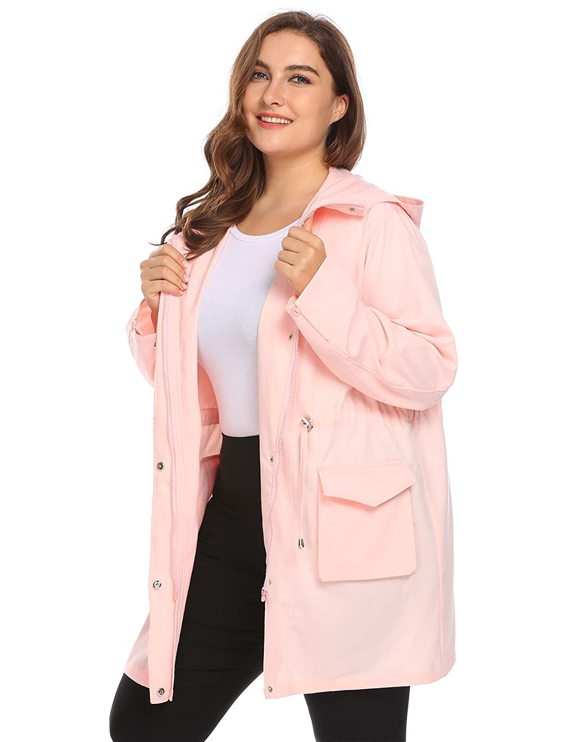 805ede0df10 Zeagoo Plus Size Fall Anorak Street Fashion Hoodies Active Lightweight Zip  Up Women Safari Jacket