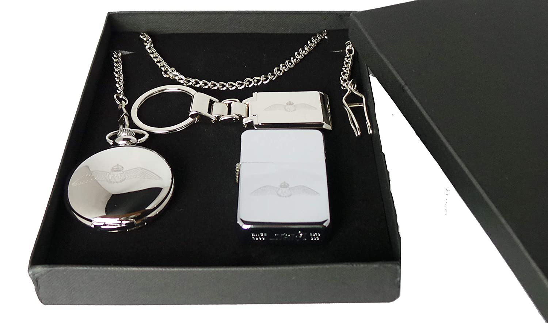 GPO Gruppe Exklusives Geschenkset, Versilbert, Halbrund, Hunter RAF Royal Air Force Logo Taschenuhr Metall, RAF Benzinfeuerzeug Und Silber Vergoldet RAF Box