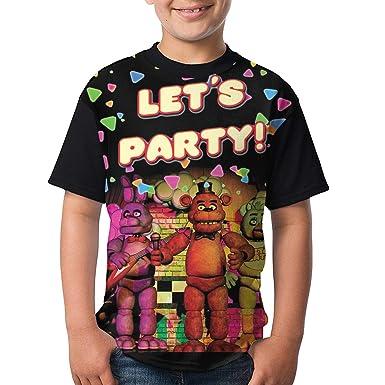 b9fa2f49 FNAF Party 3D Print Crew Neck Short Sleeve Cartoon Teens T Shirt Cotton  Tops Youth Boys