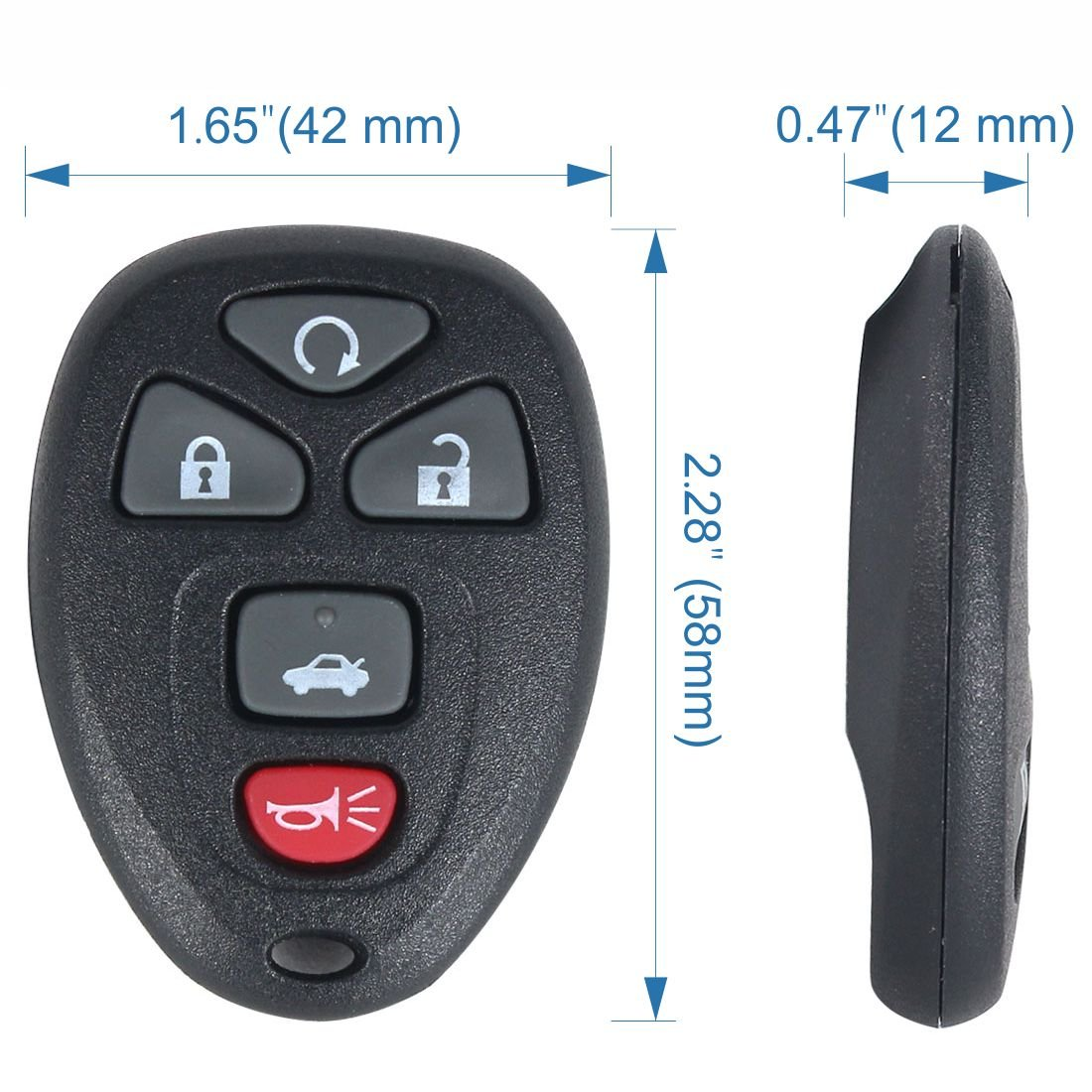 AOTOMIO 2PCS Car Keyless Entry Remote Start Key Fob Transmitter Clicker Control for BUICK CHEVROLET PONTIAC,22733524