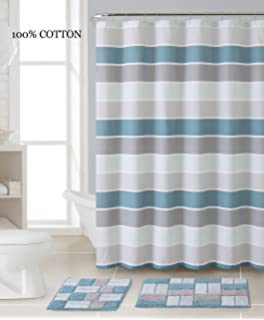 3 Pc  Bath Set  Shower Curtain and 2 Mats  Stripe and Brick DesignAmazon com  Blue and Brown Embossed Fabric Shower Curtain  Floral  . Blue And Silver Shower Curtain. Home Design Ideas