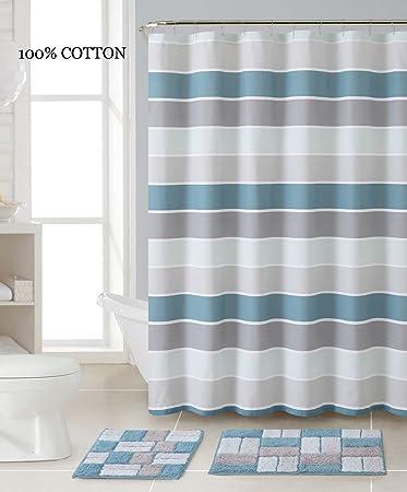 Amazon.com: 3 Pc. Bath Set: Shower Curtain and 2 Mats, Stripe and ...