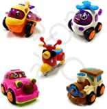 Mqfit Set of 5 Unbreakable Friction Powered Automobile Car Scooter Helicopter Plane Train Toys for Kids-1158