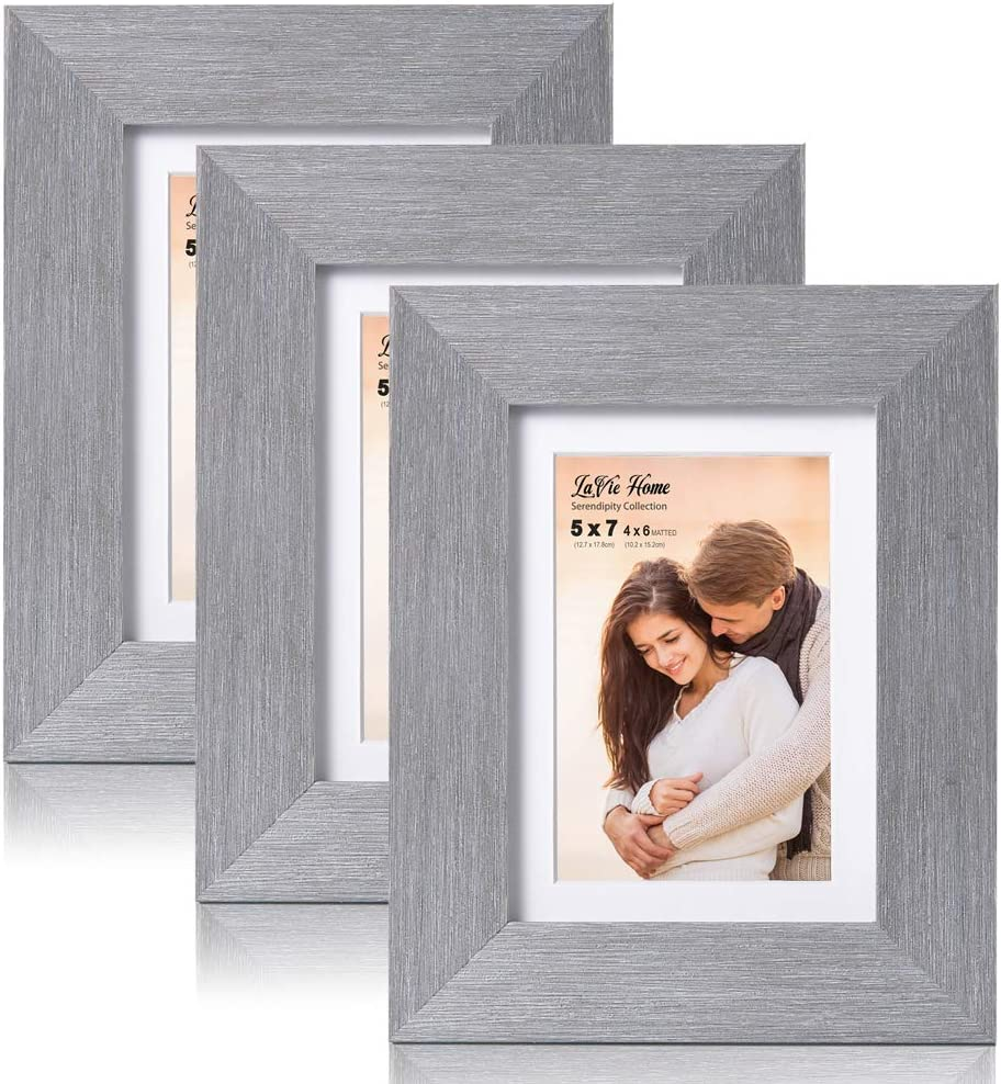 LaVie Home 5x7 Picture Frames with mat(3 Pack,Gray) Woodgrain Photo Frame with High Definition Glass for Wall Mount & Table Top Display, Set of 3 Serendipity Collection