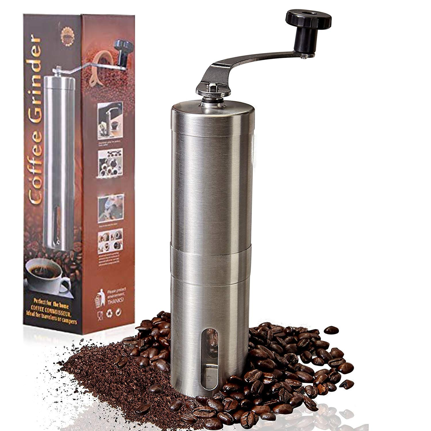 Manual Coffee Grinder, Adjustable Ceramic Core Cone Coffee Grinder, Portable Hand Coffee Grinder, for Espresso, French Press, Cold Drink and Turkish Brew - Stainless Steel by CAESGE