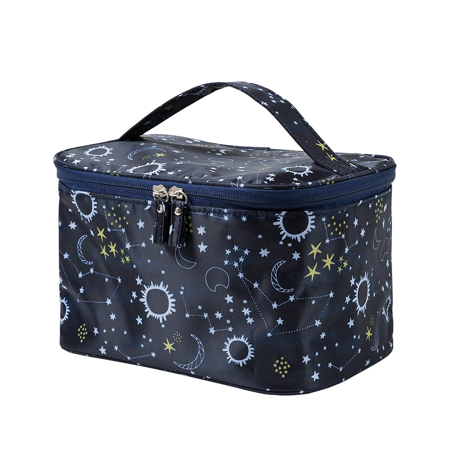 HOYOFO Women Makeup Bag Travel Cosmetic Bags with Mesh Pocket Waterproof Large Portable Toiletry Storage for Women, Starry Sky