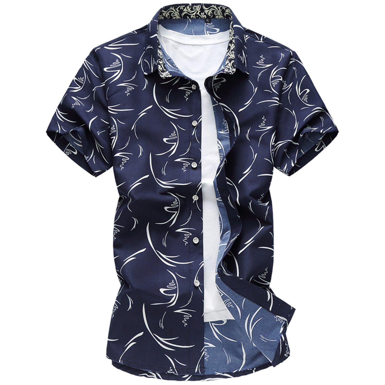 Sonms Summer Men Shirt Male Casual Print Short Sleeve Shirt Hawaii Brand Mens Clothing