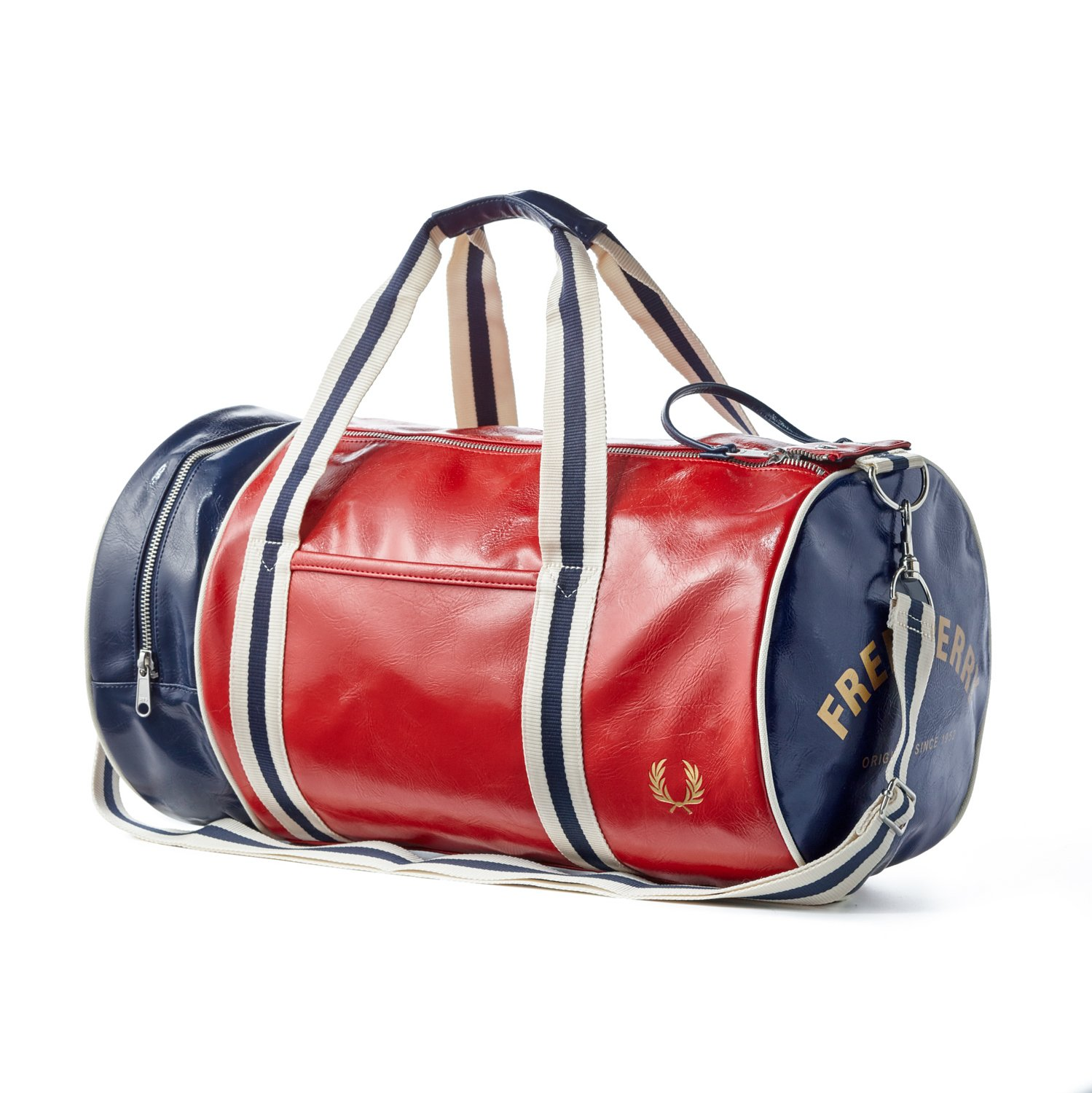 Fred Perry Classic Barrel Bag, Tartan Red, Navy and Ecru
