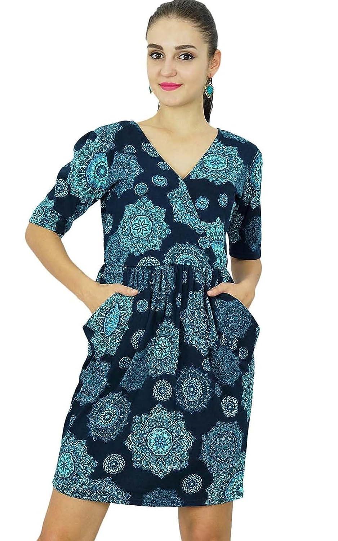 Bimba Womens Jersey kurzes Kleid Rayon Mandala Print Lässige Kleidung