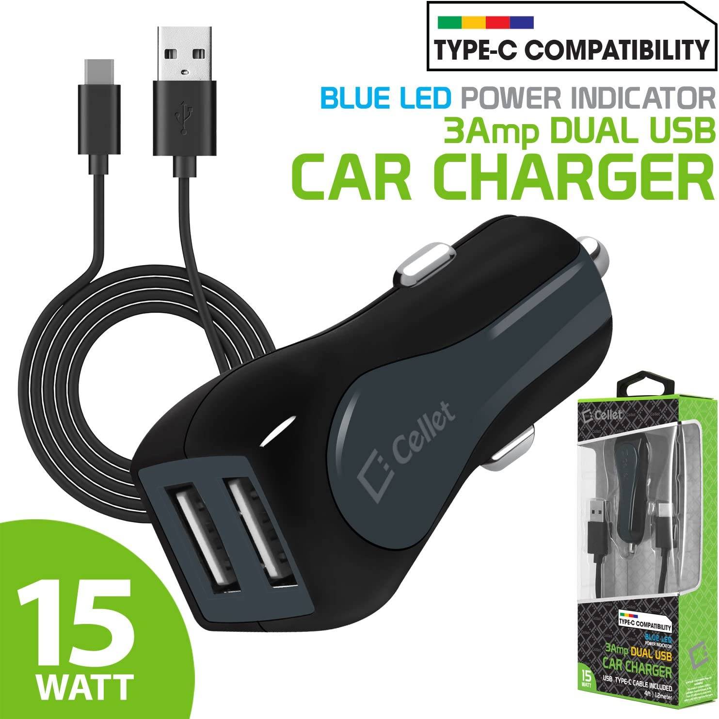 Cellet High Powered 3Amp Fast Charging 15Watt Dual USB Port Car Charger with 4ft Long Type-C Cable Compatible for Asus ZenFone V//Asus ZenFone V Live