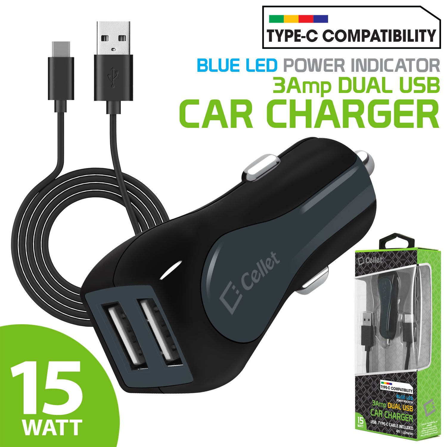 S8 Cellet High Powered 3Amp S8 Active 4351585207 Fast Charging 15 Watt Compatible for Samsung Galaxy Note 9,8 and Galaxy S9 S8 Plus Dual USB Port Vehicle Car Charger with 4ft Long Type-C Cable S9 Plus