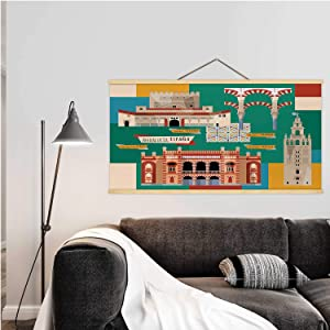 Hitecera Sights of Andalusia.Seville,Canvas Poster Granada for Home Decoration 24''W x 12''H