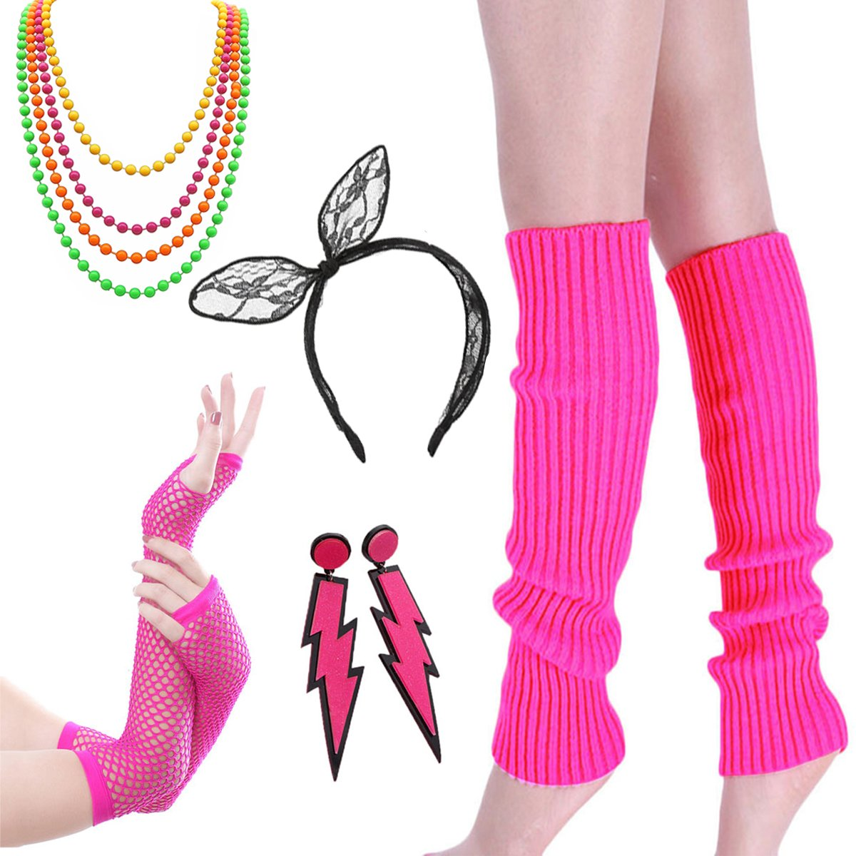80s Outfit - Womens 80s Fancy Outfit Costumes Accessories Set,Leg Warmers Fishnet Gloves Neon Earrings, Bracelet and Beads Color2 (Pink) One Size