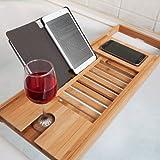 Woodluv Luxury Bath Bridge Tub Caddy Tray Rack Bathroom Shelf, Bamboo