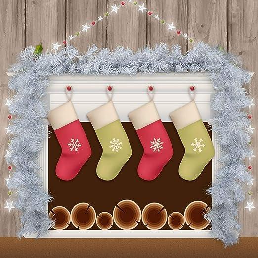 9 pies Navidad de la Guirnalda de Pino Blanco de Navidad de la Guirnalda Festiva Escaleras chimeneas Decoradas (Blanco) (Color : White): Amazon.es: Hogar