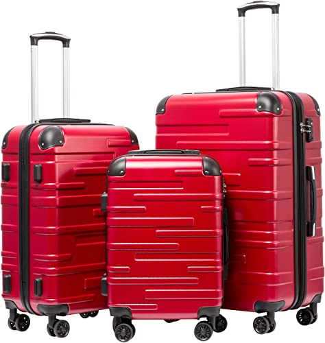 Coolife Luggage Expandable only 28 Suitcase 3 Piece Set with TSA Lock Spinner 20in24in28in red