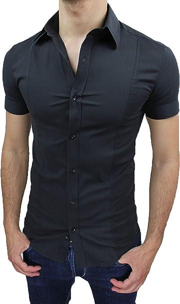 Testa Sonno agitato Scetticismo  AK collezioni Camicia Uomo Slim Fit Nero Aderente Elasticizzata Manica Corta  Casual: Amazon.it: Abbigliamento