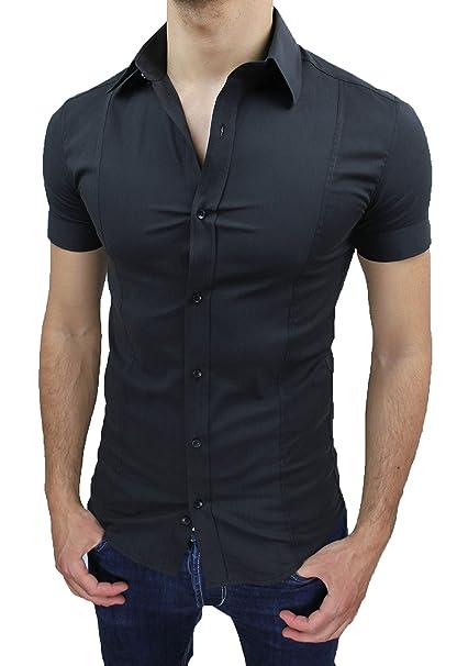 design di qualità 2461e 661ed Camicia Uomo Slim Fit Nero Aderente Elasticizzata Manica Corta Casual