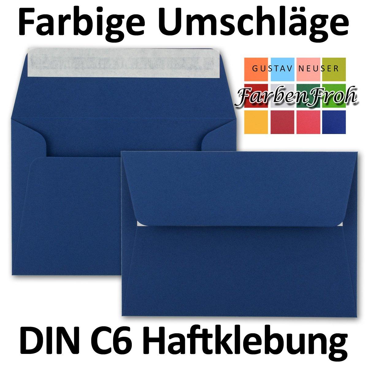 dimensioni/162 x 114/mm in colori vivaci buste per lettere Neuser chiusura adesiva 100 Umschl/äge blu notte formato C6