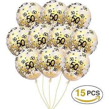MeySimon 50th Birthday Decorations Gold Confetti Balloons Printed 50 Latex Balloon For Year Old Happy