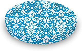 product image for SheetWorld Round Crib Sheets - Turquoise Damask - Made In USA