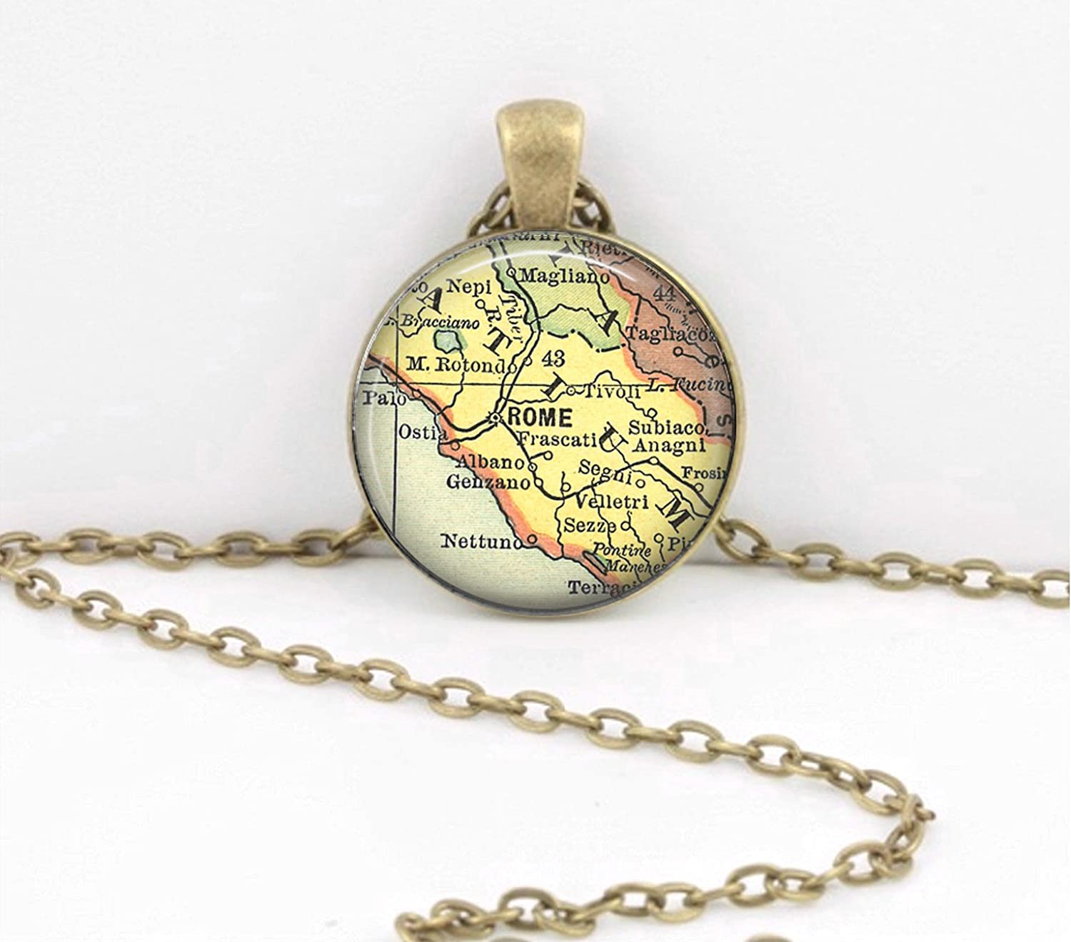 Amazon.com: Rome Italy Travel Gift Map Jewelry Vintage Map ... on map party decor, map blouse, map linens, map engraving, map gift wrapping, map of nashville necklace, map drapes, map end tables, map throw blanket, map items, map pouf, map sweatshirt, map vest, map party favors, map pendant necklaces, map name tags, map art, map wall artwork, map necklace diy, map gift tags,