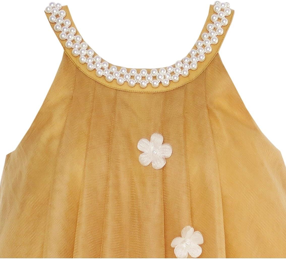 Sunny Fashion Vestido para ni/ña Flor Cabestro Perla Fiesta Boda Cumplea/ños 4-14 a/ños