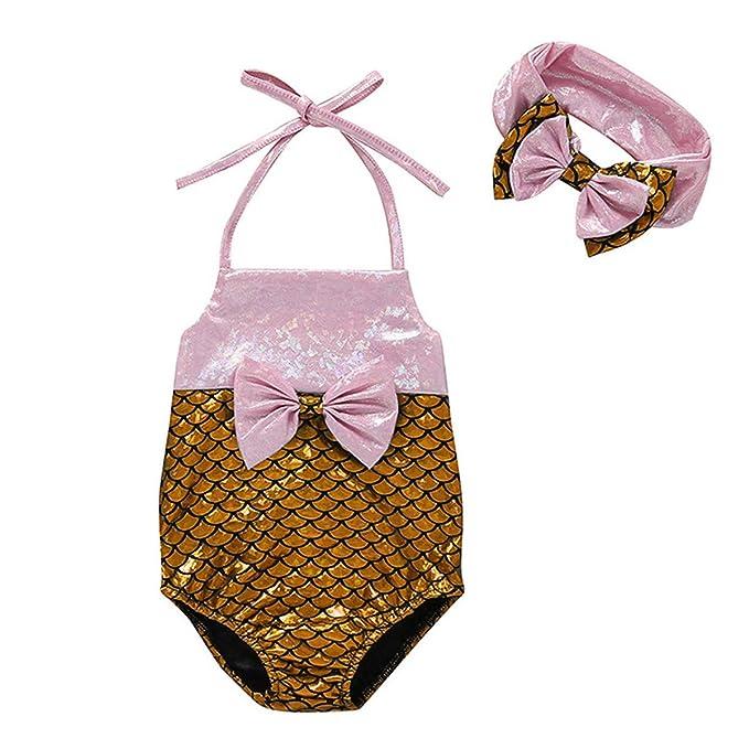 Amazon.com: Traje de baño de dos piezas para niñas, bañador ...