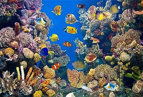 YongFoto 3x2m Vinilo Fondo de fotografía Vida Colorida del Acuario Criaturas submarinas Los Peces Corales Telón