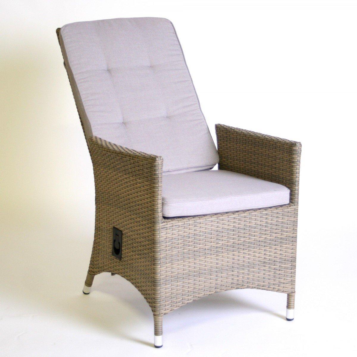 Hochlehner 'Relax' inkl. Polster Gartenstuhl Gartensessel Rattan braun-beige Liegestuhl , Farbe:Beige
