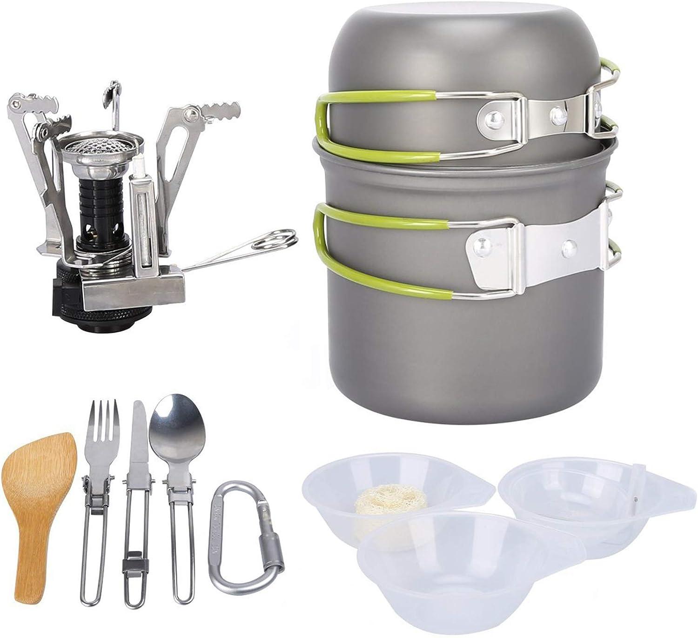 hOurDoor Kit de Utensilios de Cocina portátil Acampar, cocinar al Aire Libre, Excursionismo cocinar la Comida campestre Cuenco Pan Pot Set Durante 1 a 2 Gente de Viaje, excursión y Camping: Amazon.es: