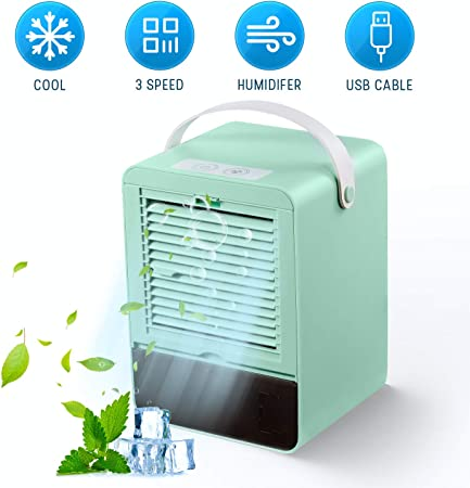 GHONLZIN Portable Air Cooler Noiseless Mini Air Conditioner Small Cooler Fan Humidifier with 3 Speeds for Home Office