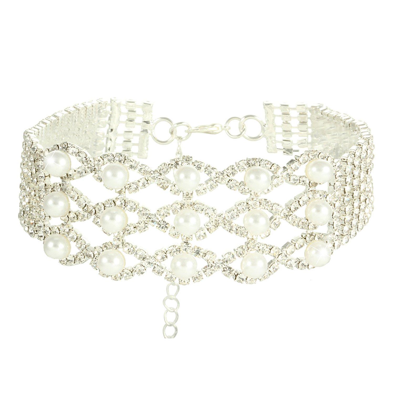 Croozy Womens Pearl Rhinestone Choker Girls Crystal Choker Necklace Wedding Collar Party Choker Necklace (Silver)